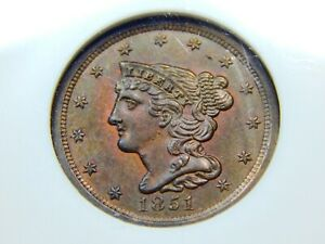 1851 1/2C BRAIDED HAIR HALF CENT MS 62RB NGC COOL COLOR