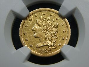 1838 $2.50 GOLD CLASSIC HEAD QUARTER EAGLE XF 45 NGC BETTER DATE