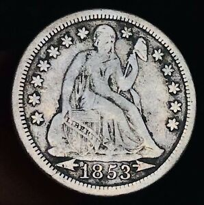 1853 SEATED LIBERTY DIME 10C ARROWS UNGRADED CHOICE GOOD SILVER US COIN CC9468