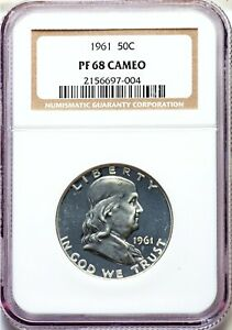 1961 NGC PF68 CAMEO FRANKLIN PROOF SILVER HALF DOLLAR PR68 TOUGH IN CAM PROOF