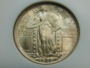 1917 25C TYPE 1 STANDING LIBERTY QUARTER MS 64 NGC/GOLD CAC OLD FATTY HOLDER