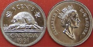 BRILLIANT UNCIRCULATED 1991 CANADA 5 CENTS FROM MINT'S ROLL