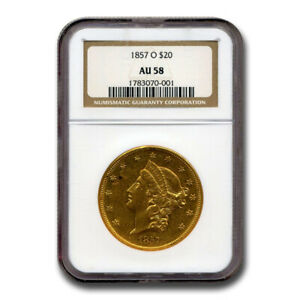 Click now to see the BUY IT NOW Price! 1857 O $20 LIBERTY GOLD DOUBLE EAGLE AU 58 NGC   SKU175394
