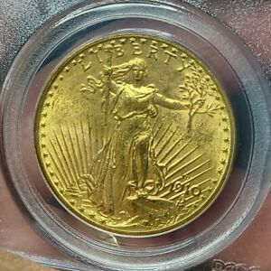 1910 D $20 SAINT GAUDENS GOLD DOUBLE EAGLE MS 62 PCGS OLD GREEN HOLDER