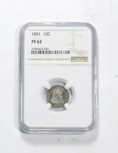 PF62 1891 SEATED LIBERTY DIME   GRADED NGC  0532