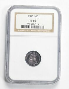 PF66 1882 SEATED LIBERTY DIME   GRADED NGC  2273