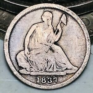 1837 SEATED LIBERTY HALF DIME 5C NO STARS SMALL DATE 90  SILVER US COIN CC9544