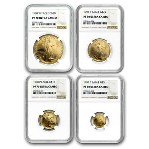 Click now to see the BUY IT NOW Price! 1990 4 COIN PROOF GOLD AMERICAN EAGLE SET PF 70 NGC   SKU82737