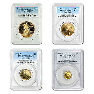 Click now to see the BUY IT NOW Price! 1990 4 COIN PROOF GOLD AMERICAN EAGLE SET PR 70 PCGS   SKU131947