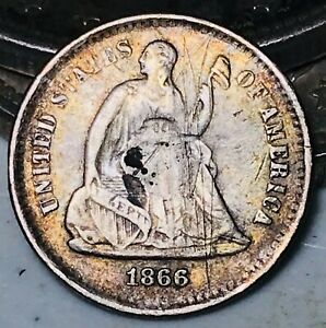 1866 S SEATED LIBERTY HALF DIME 5C HIGH GRADE DETAILS GOOD SILVER US COIN CC9354