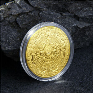 MAYAN AZTEC GIFT COMMEMORATIVE COIN COLLECTION GOLD PLATED WITH PLASTIC BOX