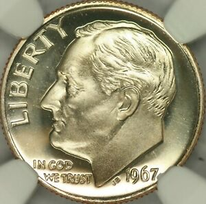 1967 SMS ROOSEVELT DIME NGC MS69CAM