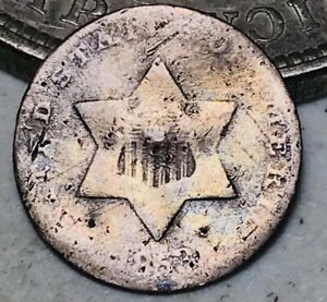 1853 THREE CENT SILVER PIECE TRIME 3C TYPE 1 UNGRADED DAMAGED US COIN CC9838