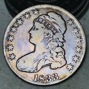 1833 CAPPED BUST HALF DOLLAR 50C UNGRADED TONED GOOD 90  SILVER US COIN CC9845
