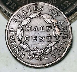 1835 CLASSIC HEAD HALF CENT 1/2C UNGRADED GOOD DATE EARLY US COPPER COIN CC9850