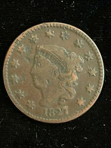1827 CORONET HEAD LARGE CENT 1C COIN