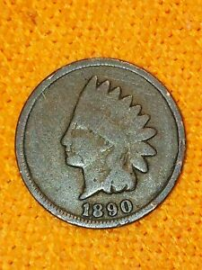 1890 ERROR ? ? INDIAN HEAD 1 CENT PENNY  CIRCULATED US COIN MISSING LETTERS ???