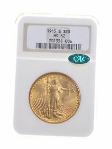 MS62 1915 S $20 SAINT GAUDENS GOLD DOUBLE EAGLE   CAC   GRADED NGC  5338