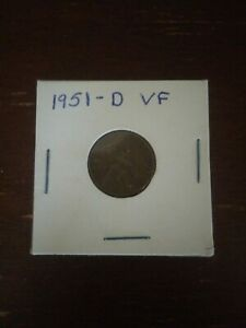 LINCOLN WHEAT PENNY 1951 D F VF FREE US SHIPPING