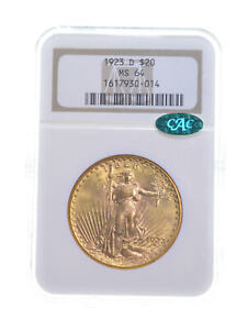 MS64 1923 D $20 SAINT GAUDENS GOLD DOUBLE EAGLE   CAC   GRADED NGC  5372