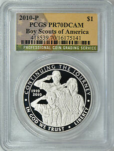 Click now to see the BUY IT NOW Price! 2010 P BOY SCOUTS PROOF SILVER S$1  FLAG LABEL  PCGS PR70 DCAM