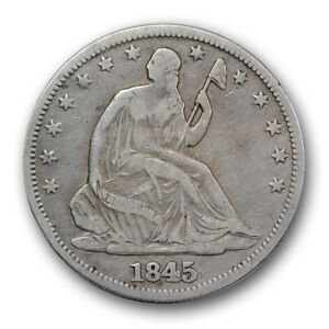 Click now to see the BUY IT NOW Price! 1845 O 50C WB 104 LIBERTY SEATED HALF DOLLAR REPUNCHED DATE FINE TO VF R304