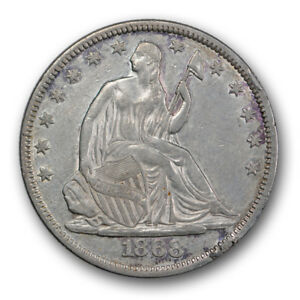 1868 50C LIBERTY SEATED HALF DOLLAR ABOUT UNCIRCULATED TO MINT STATE R338