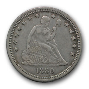 1880 25C LIBERTY SEATED QUARTER EXTRA FINE XF LOW MINTAGE R465