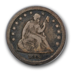 1841 25C LIBERTY SEATED QUARTER FINE VF LOW MINTAGE R988