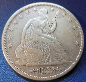 1873 S SEATED LIBERTY HALF DOLLAR FINE TO EXTRA FINE TOUGH US COIN 7695