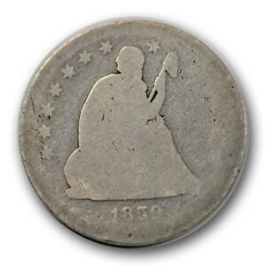 1859 S 25C LIBERTY SEATED QUARTER ABOUT GOOD AG TOUGH DATE R1370
