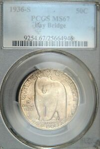 Click now to see the BUY IT NOW Price! 1936 S BAY BRIDGE COMM. HALF DOLLAR PCGS MS67  LOOK  LOOK C219314