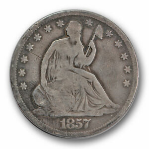 1857 S 50C LIBERTY SEATED HALF DOLLAR GOOD VG R1461