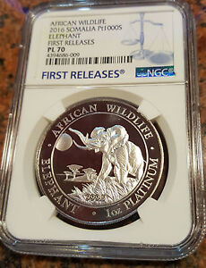 Click now to see the BUY IT NOW Price! PLATINUM ELEPHANT COIN   FIRST YEAR   1 OZ PROOF   NGC PL70 FIRST RELEASE