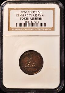 Click now to see the BUY IT NOW Price! 1860 $5 COPPER DIE TRAIL DENVER CITY ASSEY K 1 R8 TOKEN AU55 NGC