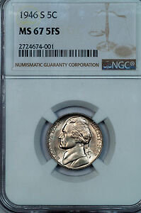 Click now to see the BUY IT NOW Price! 1946 S JEFFERSON 5C NGC MS67FS SUPERB LUSTROUS GEM FULL STEPS  84030.35956X