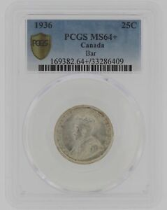 Click now to see the BUY IT NOW Price! 1936 CANADA BAR PCGS MS64 PLUS 25C SILVER COIN