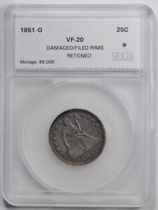 1851 O 25C LIBERTY SEATED QUARTER FINE VF NEW ORLEANS KEY DATE COIN