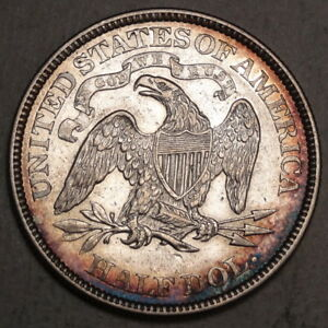 1869 SEATED LIBERTY HALF DOLLAR BETTER DATE CHOICE LY FINE NICE TONING