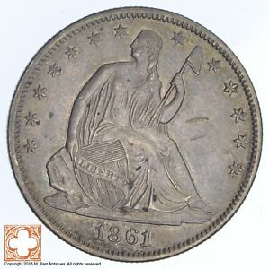 1861 SEATED LIBERTY SILVER HALF DOLLAR  XB81