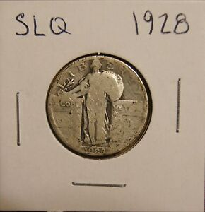 1928 STANDING LIBERTY SILVER QUARTER   RANGING FROM GOOD TO GOOD
