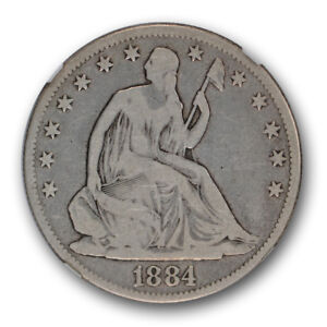 1884 SEATED LIBERTY HALF DOLLAR NGC VG 10 GOOD TO F CAC APPROVED