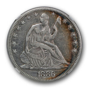 1886 SEATED LIBERTY HALF DOLLAR 50C NGC VF FINE DETAILS KEY DATE CLEANED