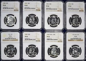 1950 1963 COMPLETE FRANKLIN 15 COIN PROOF SET EACH NGC PR66   INCLUDES T1 1956