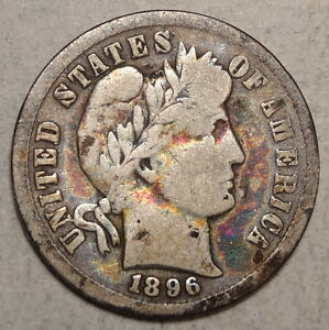 1896 S BARBER DIME ABOUT GOOD INTERESTING OLD TONING    0806 07
