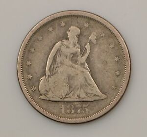 1875 S SEATED LIBERTY SILVER TWENTY CENT PIECE  G65