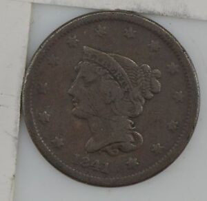 1841 BRAIDED HAIR LARGE CENT    SCRATCHES ON OBVERSE  Z11