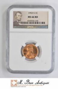 MS66 RD 1953 S CENT LINCOLN WHEAT   GRADED NGC  4626