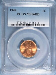 1944 LINCOLN CENT PCGS MS66 RED  GA324