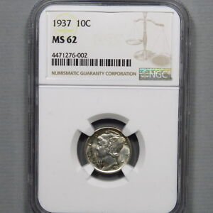 1937 P MERCURY DIME NGC MS62